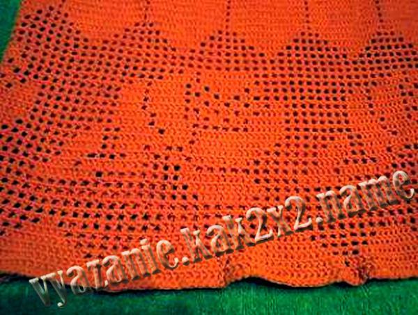 Длинная юбка крючком, канва в технике филейного вязания