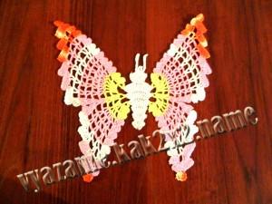 Вязание ажурной бабочки крючком